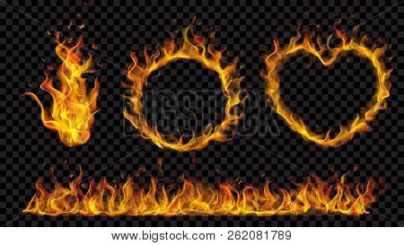 Translucent Heart, Ring, Campfire And Long Banner Of Fire Flame On Transparent Background. For Used