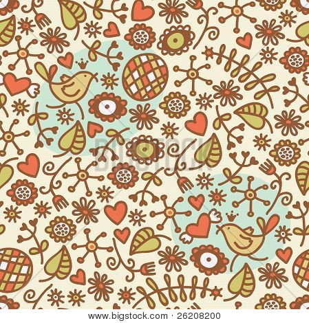 Seamless pattern with romantic birds in crown, hearts and flora. Vector doodle illustration. poster