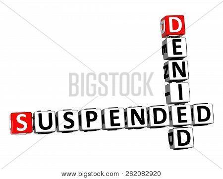 3d Rendering Crossword Suspended Denied Over White Background.