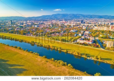Sava river and Zagreb cityscape aerial view, capital of Croatia poster
