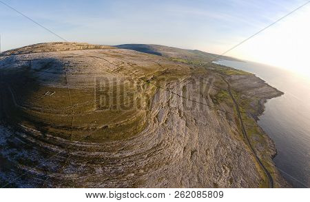 Aerial Birds Eye View Of The Burren National Park. Scenic Tourism Landscape For Unesco World Heritag
