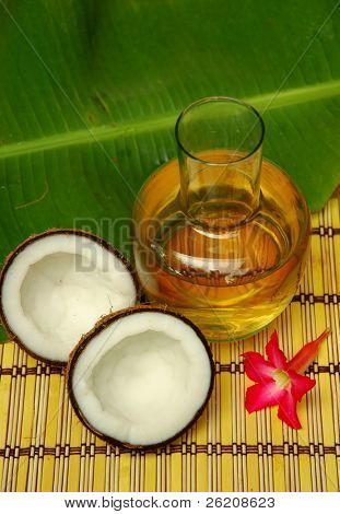 Coconut, coconut oil and plumeria poster
