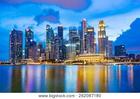 Singapore Financial District Skyline At Marina Bay On Twilight Time, Singapore City, South East Asia