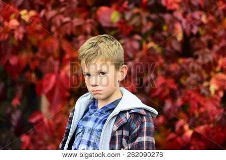 Sad And Unhappy. Boy Is Blue In Autumn. Small Boy With Sad Look. Small Child Feel Sad. Some Days Are