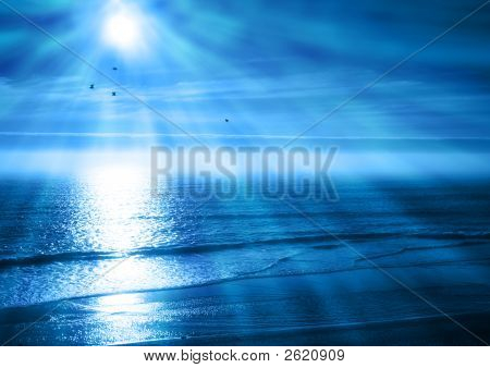 Peaceful Blue Ocean Sunset