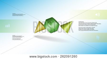 3d Illustration Infographic Template. The Two Spiked Cone Is Divided To Six Color Parts. Object Is A