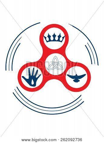Vector Illustration For Christian Community: Holy Trinity Fidget Spinner. Sun, Father And Holy Spiri