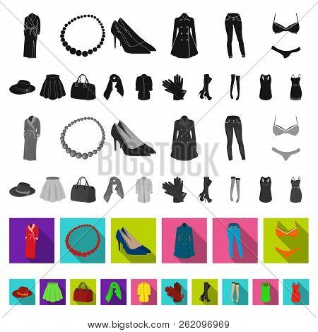 Women S Clothing Flat Icons In Set Collection For Design.clothing Varieties And Accessories Vector S