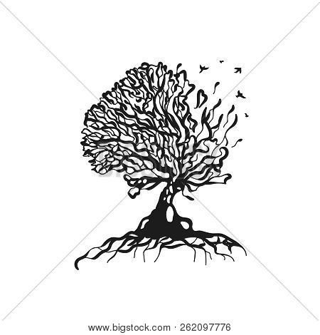 Abstract Tree Silhoutte Logo Illustration. Vector Isolated
