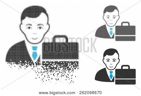 Accounter Icon With Face In Dissolving, Pixelated Halftone And Undamaged Entire Versions. Cells Are