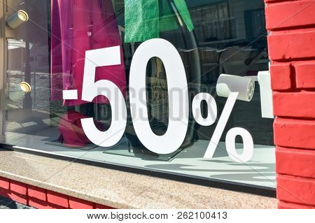 50% Off Sale Discount Promotion Sale Poster, Banner, Ads In Store, Shop, Drugstore, Market Window. S