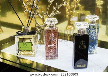 Kiev, Ukraine - 19 September, 2018: Many Bottle Of Various Men Woman Perfume In Retail Shop Window D
