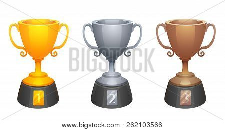Vector Gold, Silver, Bronze Cups Trophy Awards With Base. Prizes For The First, Second And Third Pla