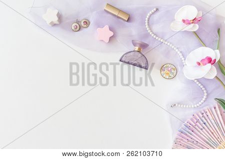 Beauty Products, Decorative Cosmetics Top View On White Background. Flat Lay For Fashion Blogger. Co