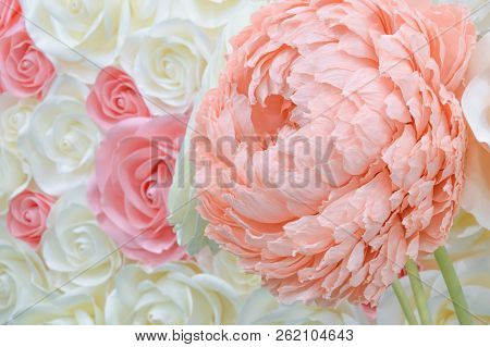 Large Giant Paper Flowers. Big Pink, White, Beige Rose, Peony Made From Paper. Pastel Paper Backgrou