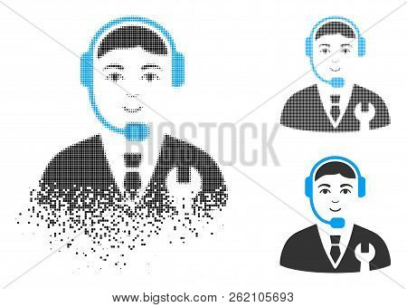 Call Center Boss Icon With Face In Dissipated, Pixelated Halftone And Undamaged Entire Versions. Poi
