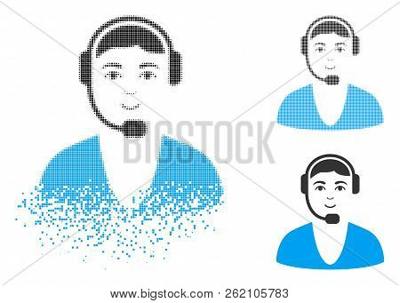 Call Center Guy Icon With Face In Dissolving, Pixelated Halftone And Undamaged Entire Variants. Part