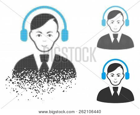 Call Center Operator Icon With Face In Disintegrated, Dotted Halftone And Undamaged Solid Variants.