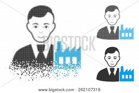 Capitalist Oligarch Icon With Face In Disintegrated, Pixelated Halftone And Undamaged Solid Versions