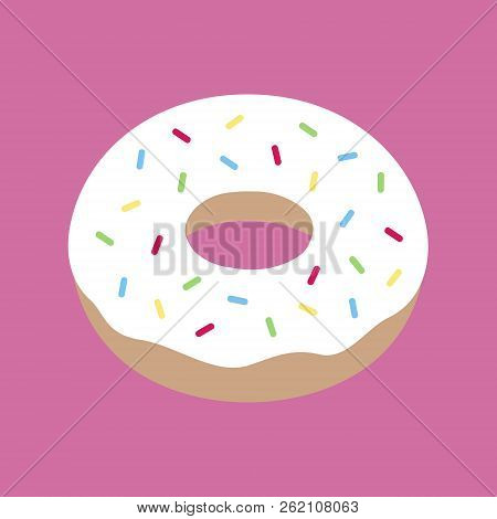 Cute Yummy Donut With White Icing And Colorful Sprinkles. Doughnut Dessert Vector Illustration Doodl