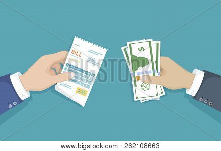 Hand With Bill And Cash Money. Illustration Sales, Shopping, Check, Receipt, Invoice, Order. Paying