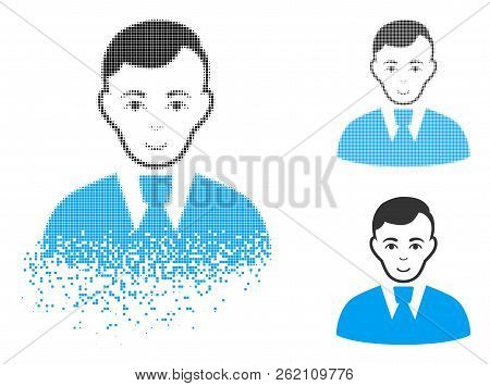 Clerk Guy Icon With Face In Disappearing, Pixelated Halftone And Undamaged Solid Versions. Elements