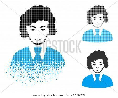 Clerk Woman Icon With Face In Disappearing, Dotted Halftone And Undamaged Entire Variants. Pieces Ar