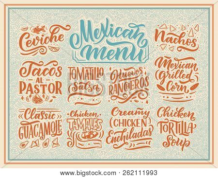 Mexican Menu Lettering With Traditional Food Names Guacamole, Enchilada, Tacos, Nachos And More. Vec