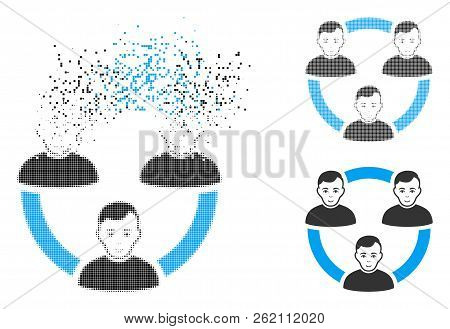 Connected Social Members Icon With Face In Dissolving, Dotted Halftone And Undamaged Solid Variants.