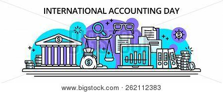 International Accounting Happy Day Banner. Outline Illustration Of International Accounting Happy Da