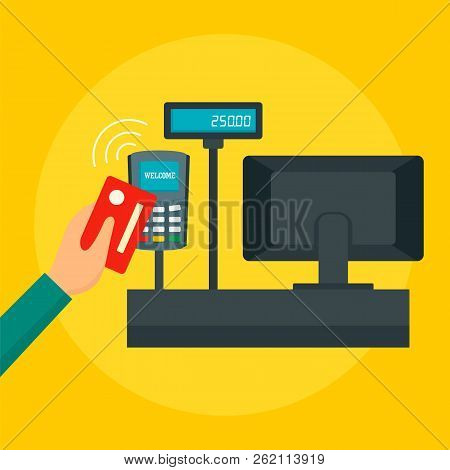 Pay With Credit Card Concept Background. Flat Illustration Of Pay With Credit Card Vector Concept Ba