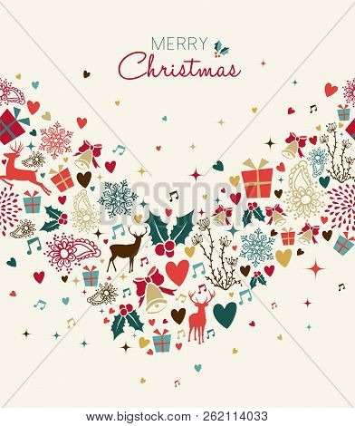 Merry Christmas Retro Style Card With Vintage Reindeer Seamless Pattern. Xmas Season Decoration Icon