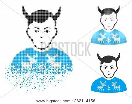 Deers Pullover Horned Husband Icon With Face In Dissolving, Pixelated Halftone And Undamaged Solid V