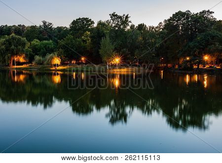 Carol Park - Bucharest, Romania. Reflections In The Lake.