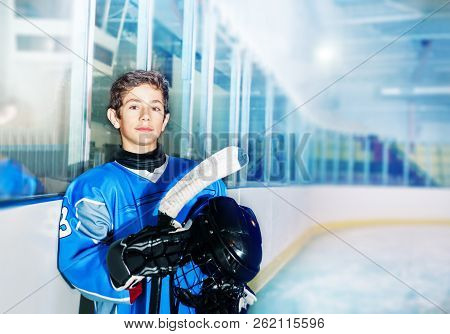 Ice Hockey Player Resting Between Game Periods