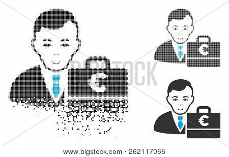 Euro Accounter Icon With Face In Dissolving, Dotted Halftone And Undamaged Entire Versions. Points A