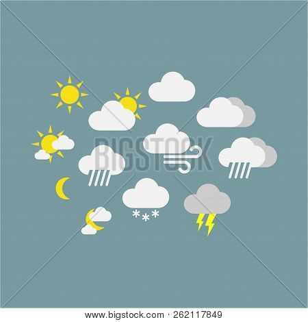 Weather Forecast Vector Icon Symbols. Colorful Sunny, Rainy, Snowy, Windy Icons. Clouds, Sun, Snowfl