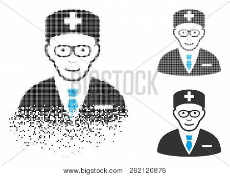 Head Physician Icon With Face In Fractured, Dotted Halftone And Undamaged Solid Variants. Pixels Are