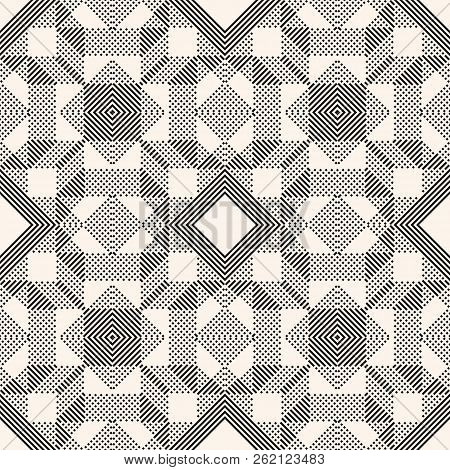 Vector Geometric Lines Pattern. Abstract Graphic Background With Diagonal Stripes, Squares, Small El