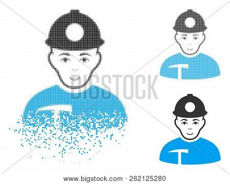Miner Icon With Face In Disintegrated, Dotted Halftone And Undamaged Solid Versions. Fragments Are O