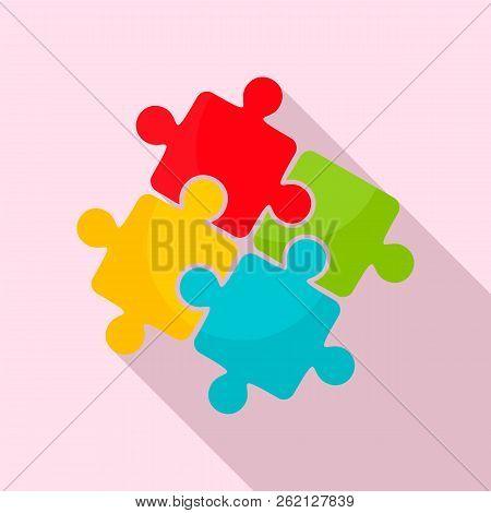 Teamwork Solution Puzzle Icon. Flat Illustration Of Teamwork Solution Puzzle Vector Icon For Web Des