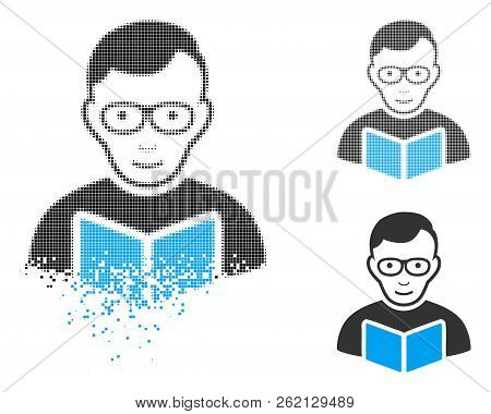 Reader Student Icon With Face In Dispersed, Pixelated Halftone And Undamaged Whole Variants. Points