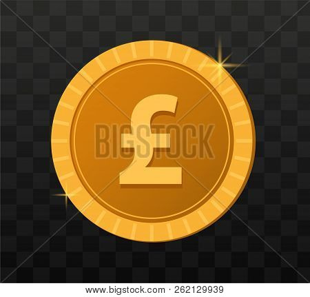 Gold Coins On Transparent Background. Game Coins Illustration. Pound