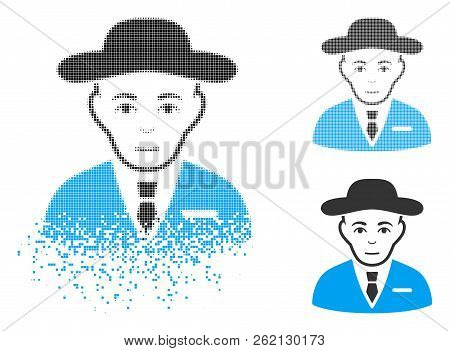 Secret Service Agent Icon With Face In Dissolving, Dotted Halftone And Undamaged Whole Variants. Poi