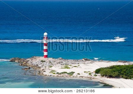 Lighthouse in the tropics on a rocky peninsula