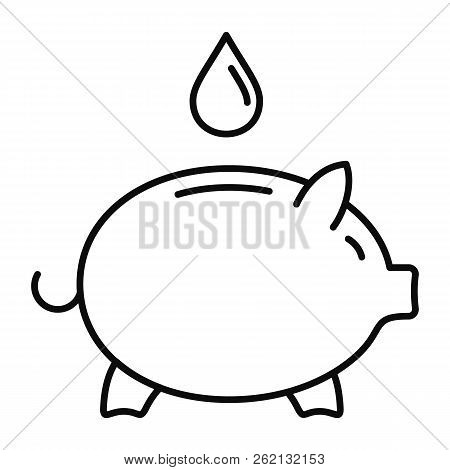 Save Piggy Bank Water Icon. Outline Illustration Of Save Piggy Bank Water Vector Icon For Web Design