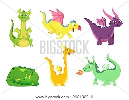 Fantasy Dragons. Cute Reptiles Amphibians And Fairytale Dragons With Big Wings Sharp Tooth Wild Crea