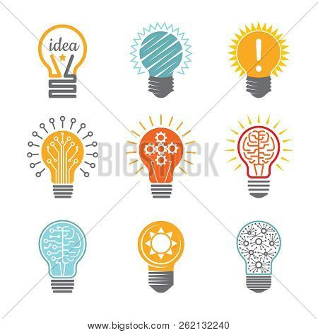 Ideas Bulb Symbols. Creative Tech Innovation Electrical Icon For Business Logotype Vector Colorful V