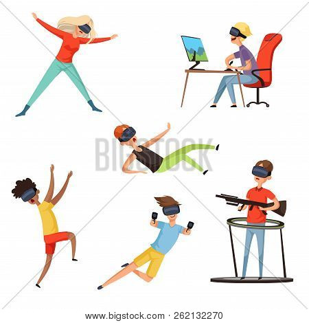 Virtual Reality Gamer. Funny And Happy Characters Playing Online Games Vr Helmet Virtual Headset Or