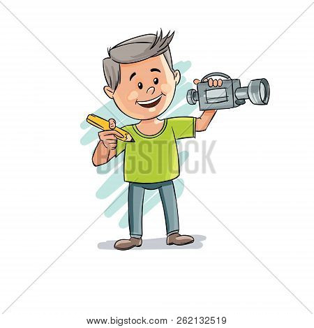 Man With A Pencil And A Video Camera In His Hands. Hand Drawn Video